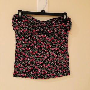 Strapless floral top
